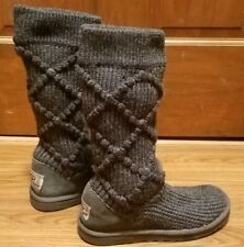 UGG Classic Argyle Sweater Boots  Knit Uggs Gray US 6 EUC