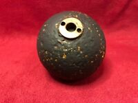 CIVIL WAR CONFEDERATE ARTILLERY 12 POUNDER CANNON BALL WITH BRASS FUSE HOLDER