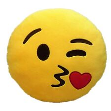 """USA SELLER Emoji Pillow 12"""" Inch Yellow Smiley 30cm Emoticon (Throwing Kiss) NEW"""