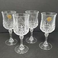 "NEW Set Of 4 Cristal d'Arques LONGCHAMP Crystal 7"" Wine Glasses 6 oz"