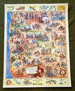 "Vintage Rancho Red ""Adventure Map of the Old West"" Sunnyvale Packing poster 1951"