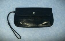 Monsac Original Small Clutch Handbag Purse Black Leather Croc Pattern Hb1
