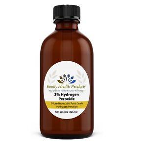 Hydrogen Peroxide 3 % 8 oz Food Grade Solution Oral Rinse & Whitening