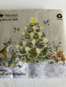 "WRENDALE FESTIVE  PAPER COCKTAIL NAPKINS/SERVIETTES PACK 20  ""OH CHRISTMAS TREE"""