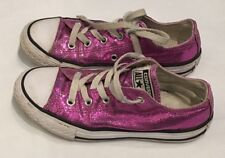 Converse All Stars Low Top Sparkle Glitter Pink Shoes Size Youth 13.5