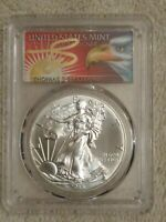 2015 SILVER EAGLE.PCGS MS70. THOMAS CLEVELAND SIGNATURE. AMERICAN EAGLE LABEL.