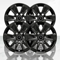 "Set of 4 17"" 6 Spoke Wheel Skins for 19-2020 Chevy Silverado 1500 - Gloss Black"