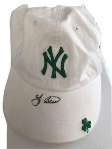 Yankees Yogi Berra Signed Cap St. Patrick's Day Beige Hat