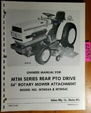 "Haban MTM54A MTM54C 54"" Rotary Mower for Mitsubishi Satoh Operator Manual 6/86"