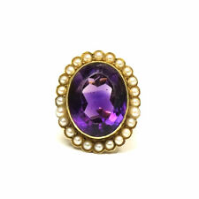 Antiker 16 ct Amethyst Ring in 585 Gold mit Orientperlen um 1930 Statement Ring