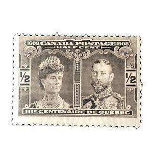 CANADA, SCOTT # 96, 1/2c  VALUE BLACK BROWN 1908 QUEBEC TERCENTENARY ISSUE MVLH