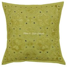 Decorative Cotton Pillow Cover Indian 40cm Boho Embroidered Mirror Cushion Cover