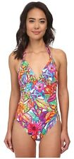 Lauren Ralph Lauren 2901 Plynesian Floral Tie Back Halter Mio Bathing Suit Sz 8
