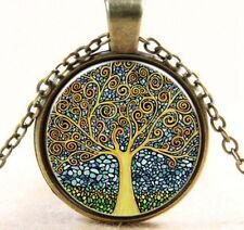 Tree of Life Cabochon Bronze Glass Chain Pendant Necklace Jewelry USA Shipper
