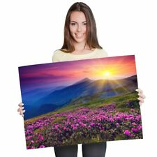 A1 - Beautiful Purple Sunset Flowers Floral Poster 60X90cm180gsm Print #8572