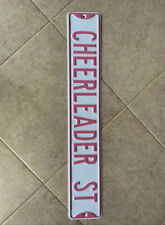 Cheerleader Street Sign White Pink NEW Girls Room Decor Cheer Cheerleading 3 FT