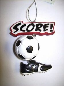 """""""Score!"""" Soccer Ball and Shoe Ornament"""