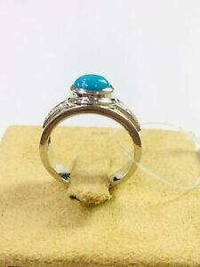 Natural Turquoise Gemstone with 925 Sterling Silver Ring for Men's #1636