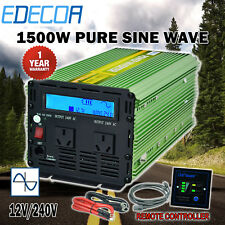 EDCOA Pure Sine Wave Power Inverter 1500W 3000W 12V to 240V Camping Boat remote