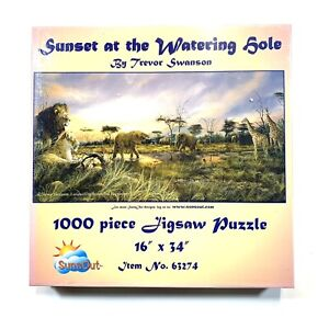 "1000 Piece Jigsaw Puzzle By Trevor Swanson ""Sunset At The Watering Hole"" New!"