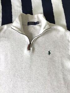 Mens Ralph Lauren 1/4 Zip Cream Sweatshirt Jumper In Medium