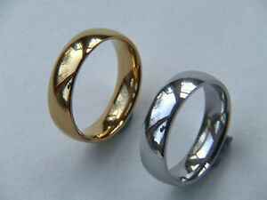 6mm Stainless Steel Plain or Gold IP Polished Wedding Band
