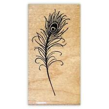 Peacock Feather lg. mounted rubber stamp, bridal, wedding, fantasy, bird #18