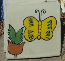 "Mexican 4"" tile tiles pottery hand painted Butterfly • New • indoor outdoor use"