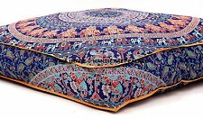 "Large Indian Meditation Floor Pillow Cover 35"" X 35"" Inch Elephant Mandala Dog"