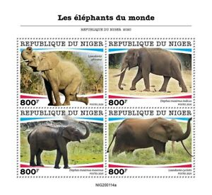 Niger Wild Animals Stamps 2020 MNH Elephants African Elephant Fauna 4v M/S