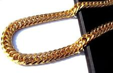 Heavy MENS 24K SOLID GOLD GF FINISH THICK MIAMI CUBAN LINK NECKLACE CHAIN