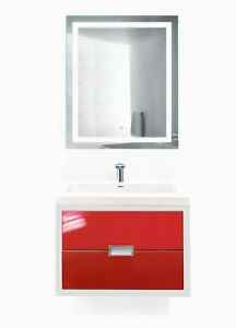 "Modern 24""-60"" Bathroom Vanity White/Red +LED Mirror+sink+faucet"