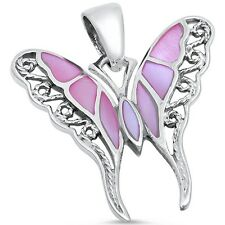 Pink Pearl Filigree Butterfly .925 Sterling Silver Pendant