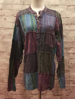 Jayli Hippie Colorful Patchwork Popover Tunic Top Made in Nepal Size X-Large XL