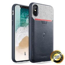 For Apple iPhone X Poetic Nubuck Series Credit Card ID Slot Case Navy Blue