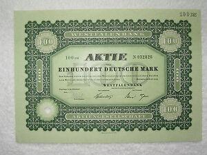 Westfalenbank-Aktie 100 DM entwertet klassisch-grün und besonders schön