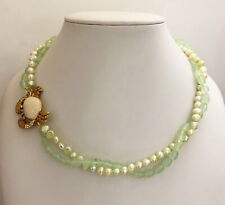"""Lilly Pulitzer """"Vintage"""" Faceted Green Quartz & FWP Necklace w/""""Crab"""" clasp CZ"""