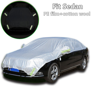 Half Car Cover Waterproof Sun UV Snow Dust Rain All Weather Protection Fit Sedan