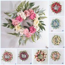 Artificial Wreath Flower Garland Green Leaves Door Wall Home Living Room Decor
