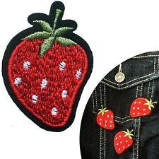 Strawberry iron on patch sweet berry food fruit vitamin transfer iron-on patches