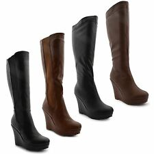 Women's Knee High Wedge Casual Boots