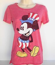 Disney Mickey Mouse Patriotic Women's Junior Red's T-Shirt Size X-Small