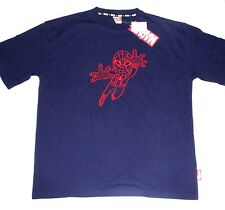 Marvel JAPAN Cute Spider-man Embroidered  Mens Tee shirt size Large --NAVY