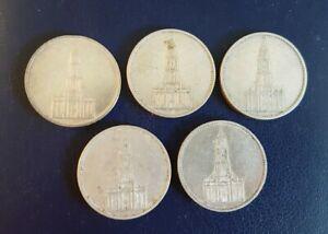 5 x 5 Reichsmark 1935,  Garnisonskirche (2xA, D, E, F), Silber -  (LOT 1)