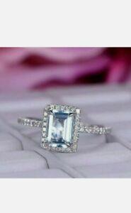 2Ct Emerald Cut Aquamarine Beautiful Halo Engagement Ring 14K White Gold Finish