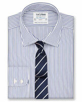 T.M.Lewin Mens  Slim Fit Navy Stripe Poplin Button Cuff Shirt