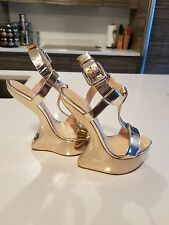 Giuseppe Zanotti Gold Mirrored Platform Wedge Sandals 38.5