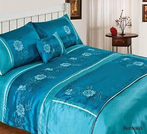 Teal Bordeaux 4 Piece Bed in a Bag Bedding Duvet Quilt Cover, Single size