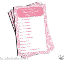 50 How Well Do You Know the Bride and Groom sheets bridal shower pink damask