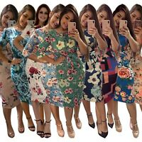 Women's Slim Short Sleeve Dress Bodycon Evening Ball Gown Sexy Zipper Dresses